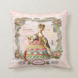 Marie Antoinette Paris and Pink Roses Throw Pillow