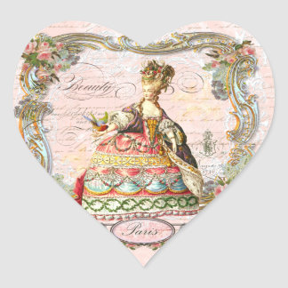 Marie Antoinette Paris Pink Roses Heart Sticker