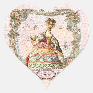 Marie Antoinette Paris Pink Roses Heart Sticker