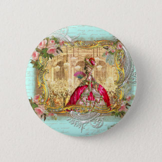 Marie Antoinette Party at Versailles in Aqua 2 Inch Round Button