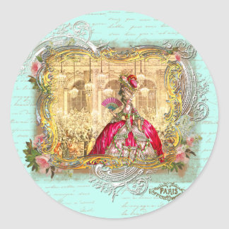 Marie Antoinette Party at Versailles in Aqua Classic Round Sticker