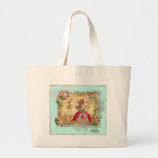 Marie Antoinette Party at Versailles in Aqua Large Tote Bag