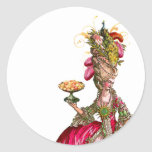 Marie Antoinette peacock and cake Round Sticker