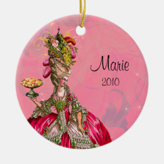 Marie Antoinette & Peacock and Cakes Round Ceramic Ornament