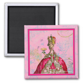 Marie Antoinette Peacock and Cakes Square Magnet