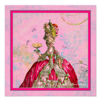 Marie Antoinette Peacock and Hot Pink Custom Invitation