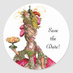 "Marie Antoinette Peacock ""Save the Date"" Stickers"