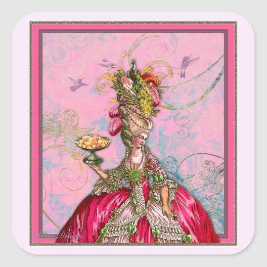 Marie Antoinette Peacocks and Cakes Square Sticker