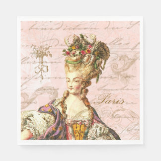 Marie Antoinette Pink French Script Party Napkins Disposable Napkin