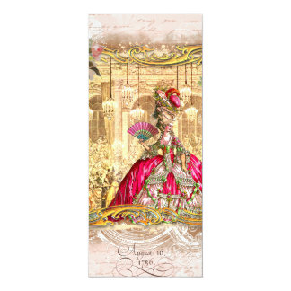 """Marie Antoinette Pink Party at Versailles 4"""" X 9.25"""" Invitation Card"""