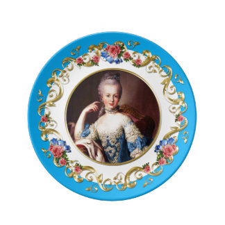 Marie Antoinette  Pink Rose Turquoise Blue Plate