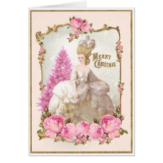 Marie Antoinette Pink Tree Roses Christmas Card