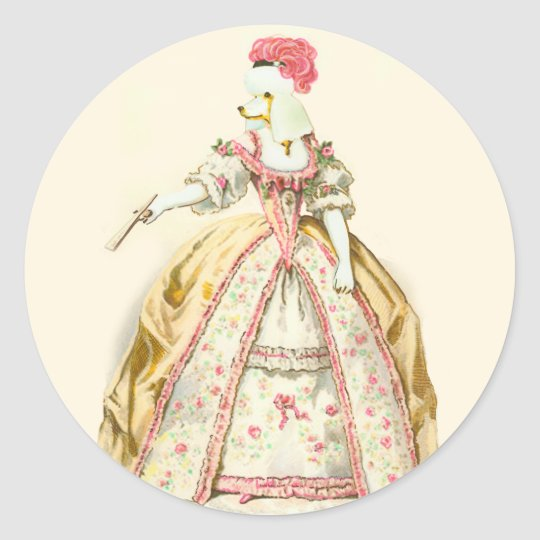 Marie Antoinette Poodle Fashion Plate Stationery Classic Round Sticker
