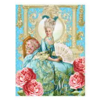 Marie Antoinette Portrait Blue chair Postcard