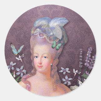 Marie Antoinette Purple Floral Classic Round Sticker