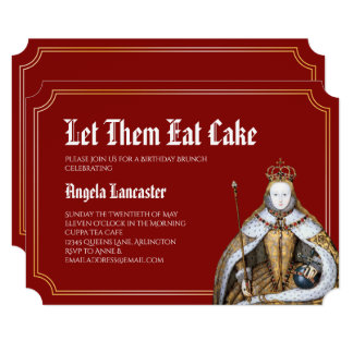 Marie Antoinette Red Birthday Brunch Party Card