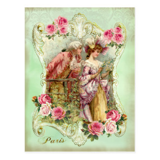 Marie Antoinette Rococo Lovers Rose Lady Postcard