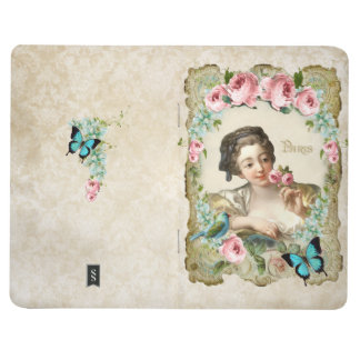 Marie Antoinette Rococo Rose Girl Bird Journal