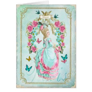 Marie Antoinette Shabby Chic Butterfly Card