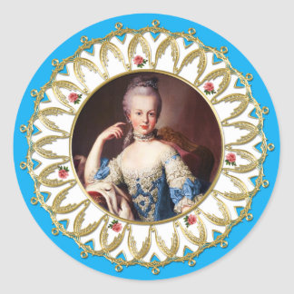 Marie Antoinette Sticker Blue Rose Gold Flame
