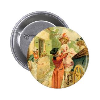 Marie Antoinette Style Vintage Art Design Button