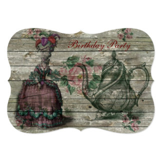 marie antoinette tea pot floral birthday party 5x7 paper invitation card