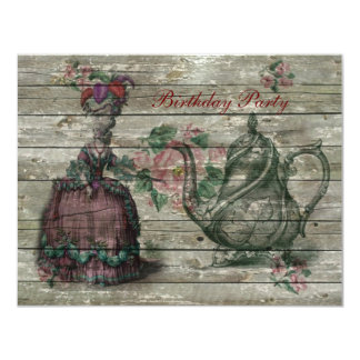 marie antoinette tea pot floral birthday party 4.25x5.5 paper invitation card