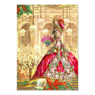 "Marie Antoinette Versailles Christmas Tea Party 5"" X 7"" Invitation Card"