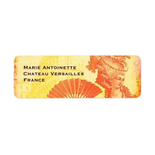 Marie Antoinette & Versailles Orange Crush Sunset Return Address Label