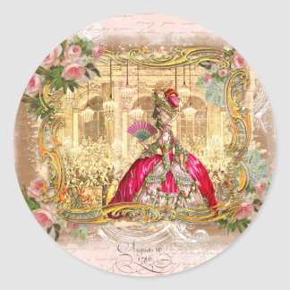 Marie Antoinette Versailles Party Pink Classic Round Sticker