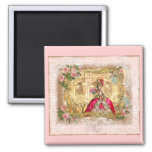 Marie Antoinette Versailles Party Pink Square Magnet