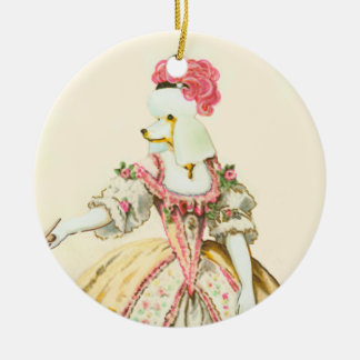 Marie Antoinette White Poodle Christmas Ornament