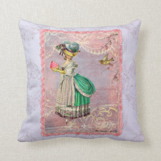 Marie Antoinette with Cupcake & Bird Throw Pillow