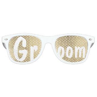 Marié de luxe de mariage de feuille d'or de faux lunettes de soleil