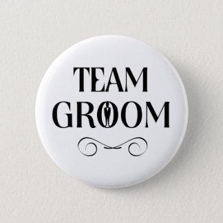 Marié d'équipe - Pin de garçons d'honneur Macaron Rond 5 Cm