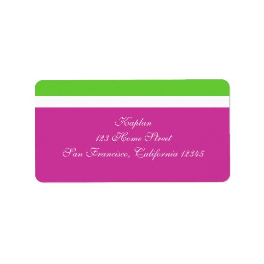 Marielle Address Label Pink Green Wedding Mitzvah