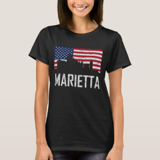 Marietta Georgia Skyline American Flag Distressed T-Shirt
