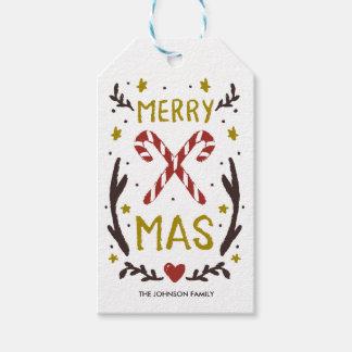 Mariez Noël tiré par la main Étiquettes-cadeau