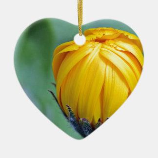 marigold ceramic heart ornament