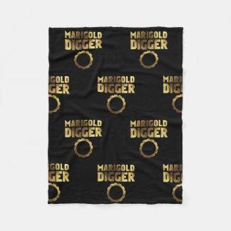Marigold digger black gold fleece blanket