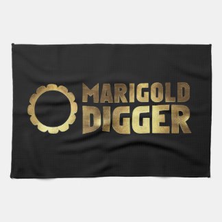Marigold digger black gold kitchen towel