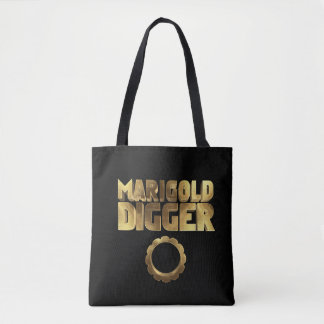 Marigold digger black gold tote bag