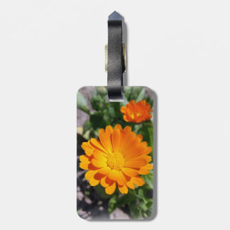 marigold flower luggage tag