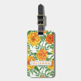 Marigold Flower Pattern Luggage Tag