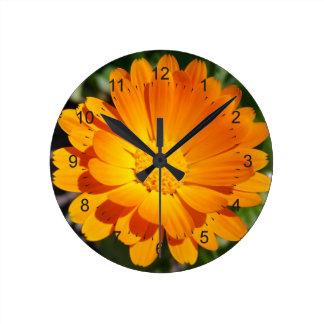 marigold flower round clock