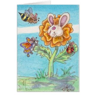 Marigold Funny Bunny Bee, Butterfly & Lady Bug Art Card