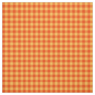 Marigold Orange and Yellow Check Gingham Pattern Fabric