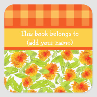 Marigolds and Check Gingham Sheet of 20 Bookplates Square Sticker