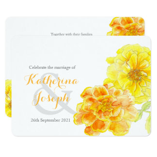 Marigolds watercolor yellow wedding invite