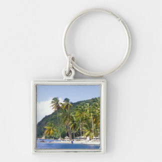 Marigot Bay, St. Lucia, Caribbean Silver-Colored Square Keychain